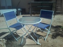 Fun Foldable Bright Blue/White Patio Set in Yucca Valley, California
