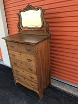 Qtr Oak Chest w/ Beveled Mirror 5 Drawer in Camp Lejeune, North Carolina