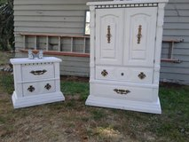 Matching Armoire and Bedside Table in Fort Lewis, Washington