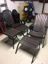 Outdoor Patio Furniture Chairs w/footstools and Side Table in Ramstein, Germany