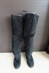 Thigh high flat suede boots in Okinawa, Japan