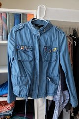 F21 Denim Jacket with front pocket jewel applique in Okinawa, Japan