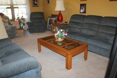 Lazy Boy Couch, Loveseat and single (Rocker) Recliners complete Set Blue in Bartlett, Illinois