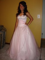 Beautiful Prom Dress Pink with Rhinestones cost $600+ size S MUST SEE in Bartlett, Illinois
