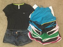 Workout shorts, heatgear shirt and 1 pair jeans shorts in Fort Irwin, California