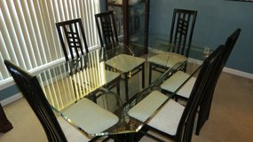 Glass Dining Room Table with six chairs in The Woodlands, Texas
