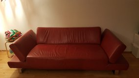 Red Leather Couch in Wiesbaden, GE