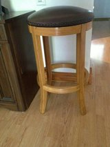 NEW-TWO BROWN LEATHER NAIL HEAD TRIM SWIVEL BAR STOOLS in Palatine, Illinois
