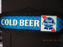 VINTAGE PABST BLUE RIBBON BEER SIGN LIGHT UP ANTIQUE SILVER ORNATE TRIM in Travis AFB, California