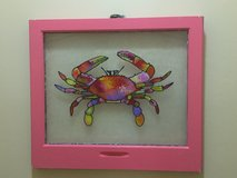 Crab Painting on Old Window in Camp Lejeune, North Carolina