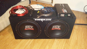 2 12 inch speakers all cables amp and instructions in Barstow, California