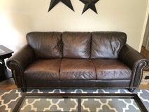 Dark Brown Leather Couch in Plainfield, Illinois