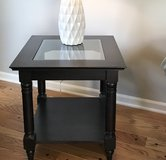 Glass and Black Wood End Table in Plainfield, Illinois