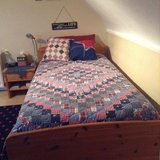 Solid Wood Twin Bed with Matress & Night Stand in Ramstein, Germany
