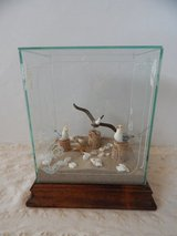 BEACH SCENE GARDEN GLASS TERRARIUM SEAGULLS SHELLS SAND DECOR in Fort Irwin, California