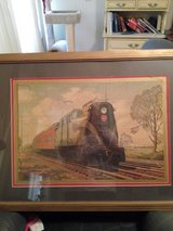 huge Train picture in original frame. over 85 yrs old maybe older. in Moody AFB, Georgia