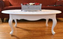 Beautifully Hand Painted White End/Coffee Tables with Light Distressing in Tinley Park, Illinois