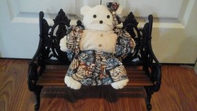 (NEW) Hand Made & Sewn Cat Doll  On A Victorian  Cast Iron & Wooden Doll Bench in Glendale Heights, Illinois