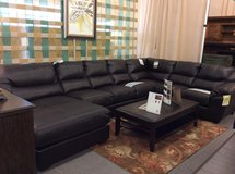 Brand New Leather Sectional with Chaise in Warner Robins, Georgia