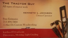 Tractor and operator for rent in Katy, Texas