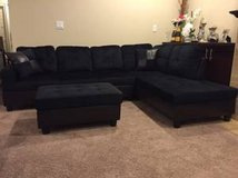 New black Microfiber sectional w ottoman in Fort Lewis, Washington