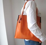 Supple Leather handmade tote bag/ . very soft/ made in The Netherlands in Ramstein, Germany