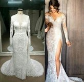 Darius Cordell Lace long sleeve wedding dress in Bellaire, Texas