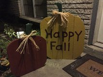 Wood pumpkin set in Spring, Texas