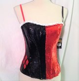 Harley Quinn Halloween Large Queen Hearts Bustier Red Black Costume Wonderland Spades Clubs in Kingwood, Texas