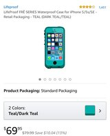 Teal colored iPhone 5s lifeproof case in Dover, Tennessee