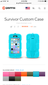 Teal colored iPhone 5s Griffin case and clip in Dover, Tennessee