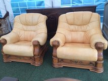 2 great leather solid wood armchairs from France in Ramstein, Germany