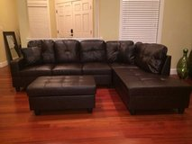 New- Brown leather couch sectional with Ottoman in Fort Lewis, Washington