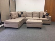 New- Beige tweed couch sectional with Ottoman in Fort Lewis, Washington