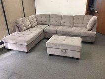 New grey Chenille sectional with Ottoman in Fort Lewis, Washington