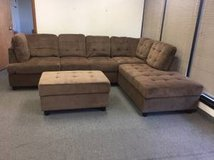 New - Brown chenille couch set with Ottoman in Fort Lewis, Washington