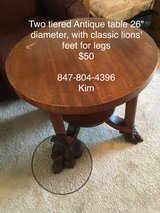 Antique Piqua 309 Wooden Table with Lion's Feet in Shorewood, Illinois