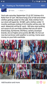 Yard sale today sept 30 in Rolla, Missouri