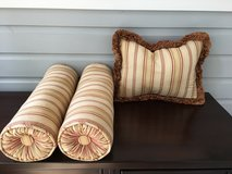 "3 Decorative Pillows; 1 Rectangle (12""x18"") and 2 Bolsters in Glendale Heights, Illinois"