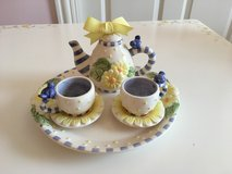 Porcelain Decorative Tea Set - 6 Pieces, Blue and Yellow in Glendale Heights, Illinois