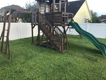 Leisure Times Kids wooden play set swing slide in Pearland, Texas