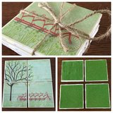 Set of four handmade tile coasters- bicycle & tree puzzle pattern in Perry, Georgia