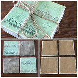 Set of four handmade tile coasters- bicycle & brown patterns in Perry, Georgia