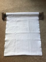 Antique roller bar towel holder and new towel in Elgin, Illinois