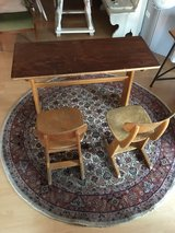 old german school bench with 2 chairs in Baumholder, GE