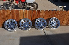 Rims from a 2001 Jeep Cherokee in 29 Palms, California