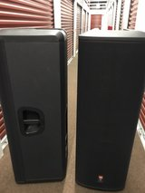JBL PRX525 dbl 15in Powered Loud Speakers w/JBL dust covers in Orland Park, Illinois