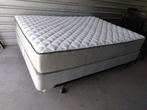 Queen size mattress with box spring and metal frame in Fort Bliss, Texas