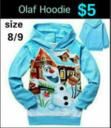 Kids Size 8/9 OLAF HOODIE * NEW WITH TAG in Columbus, Georgia