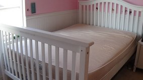 White Full Sized Bed/convertible crib with like new full sized mattress in Sugar Grove, Illinois